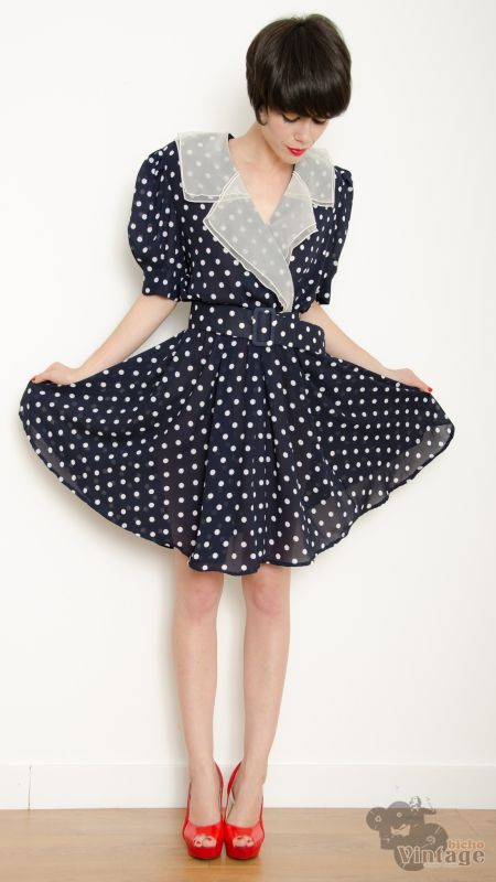 3f93fff2419 Vintage 80s Navy Polka Dots Dress Size L-XL - Bichovintage - Online vintage  and retro clothing store