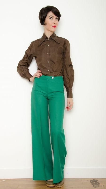 89689141df319 Pantalón Vintage 70s Pata de Elefante Verde