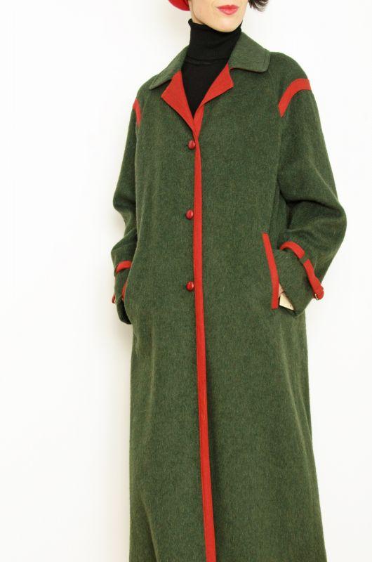 0af66f64102 Abrigo Vintage 70s Verde Rojo Lana Modelo Alano Talla M-L - 1 ...