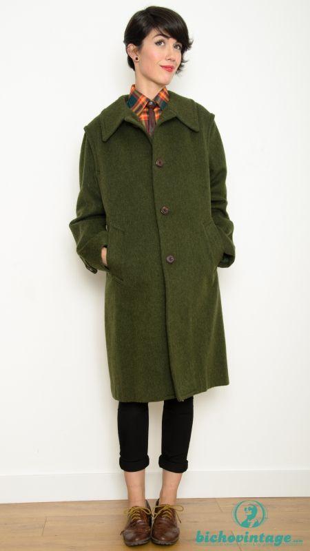 Verde 70s Modelo Vintage Abrigo Xl Talla Austriaco Mohair 84xEZEwf