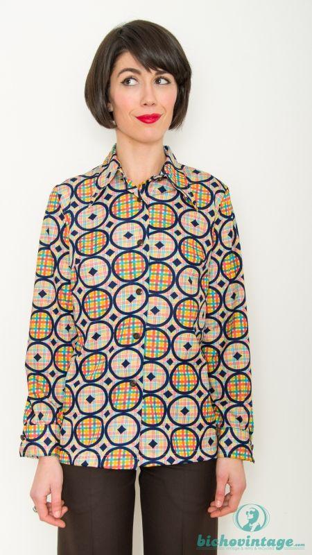 0b7c4af2e9420 Camisa Vintage 60s Psicodélica Círculos Talla L - Bichovintage - Tienda  online de ropa vintage y retro
