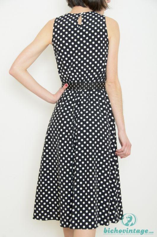 376c4866563 Vintage 80s 50s Style Black Polka Dots Dress Size M - Bichovintage - Online  vintage and retro clothing store