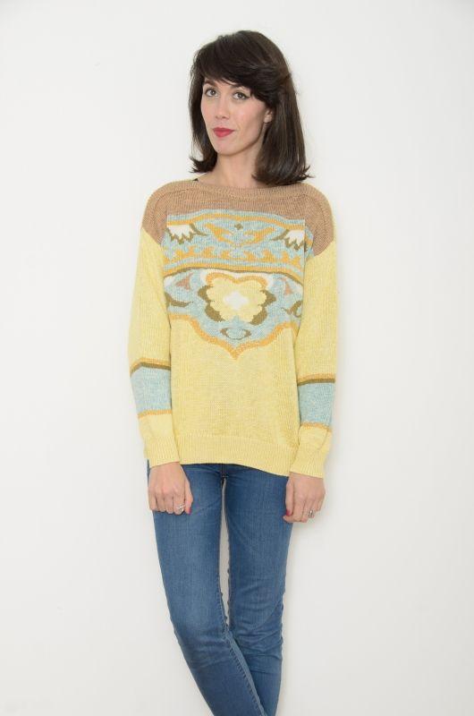 Vintage 80s FWM Yellow Knit Sweater Oversize - Bichovintage - Online ... fa4a51ba7