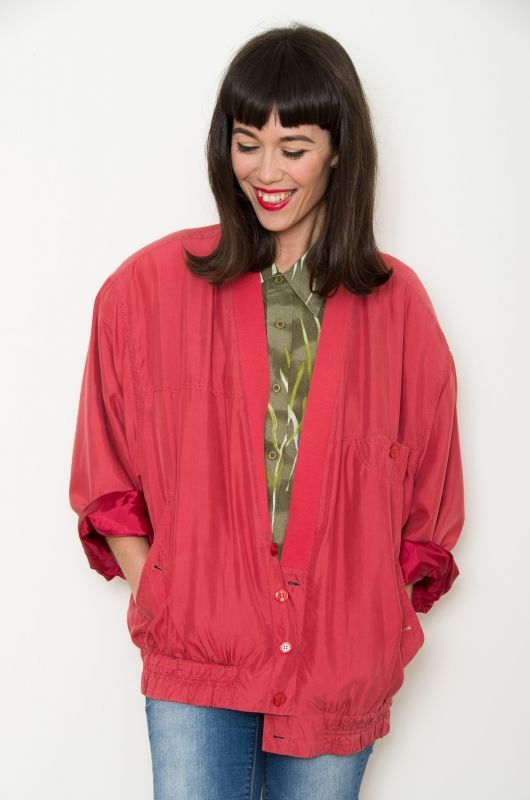 2db30bd8ca0 Vintage 90s Silk Bomber Coral Oversize - Bichovintage - Online vintage and  retro clothing store