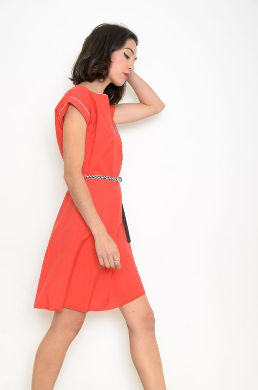 8825572621f77 Vintage 80s Red Art Deco Dress Size M - Bichovintage - Online vintage and  retro clothing store