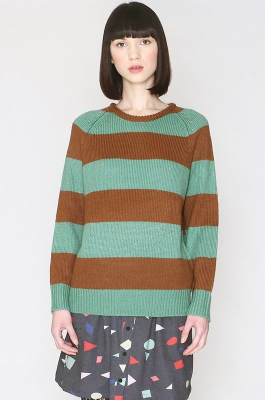 Knitted Stripes Sweater Brown Turquoise Pepaloves - Bichovintage - Online  vintage and retro clothing store e4fe8e00e