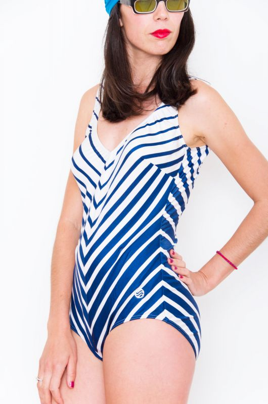 e7ae9fd81140a Vintage 50-60s Striped Rockabilly Pin Up Swimsuit - Bichovintage - Online  vintage and retro clothing store