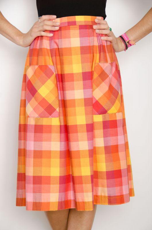 c56c8c279 Vintage 70s Plaid Vichy Midi Skirt Size L - Bichovintage - Online vintage  and retro clothing store