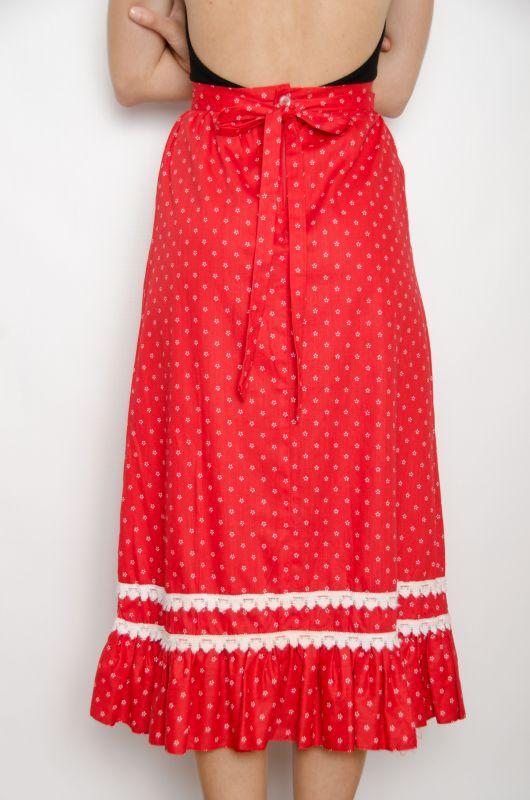 1e021a6464 Vintage 70s Folk Red Maxi Skirt Size XS - Bichovintage - Online ...