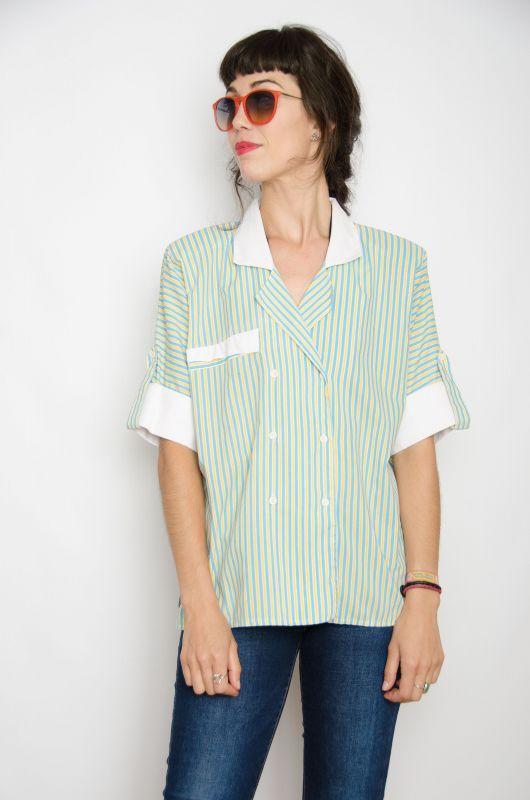 7f75bcc18 Camisa Vintage 80s Rayas Trabajo Oversize - Bichovintage - Tienda ...