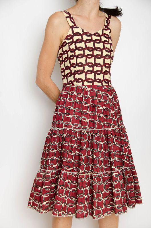 Vintage 70s Strings Wine Scarf Dress Size S 1