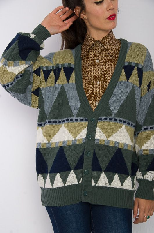 Vintage 80s Knitted Navajo Cardigan Size M - Bichovintage - Online vintage  and retro clothing store 78ce964a6