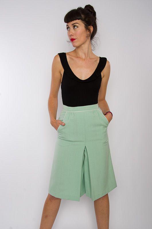 55df2ec9f Falda-Pantalón Midi Vintage 60s Verde Agua Talla XS - Bichovintage - Tienda  online de ropa vintage y retro