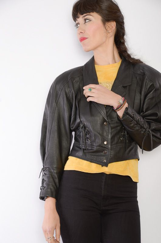 083f66040 Vintage 80s Bomber Black Leather Jacket Size S - Bichovintage - Online  vintage and retro clothing store