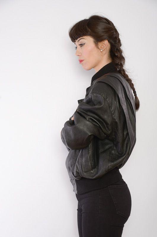 327c293e Vintage 80s Leather Short Black Bomber Jacket Oversize ...