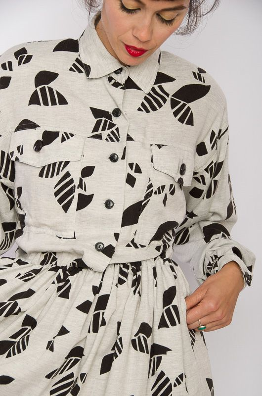 e66fcae607 Vintage 80s Abstract Gray Black Shirt Dress Size M-L - Bichovintage - Online  vintage and retro clothing store