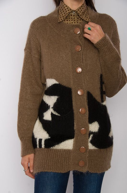 a5bf3674 Vintage 80s Abstract Brown Cardigan Size M - Bichovintage - Online vintage  and retro clothing store