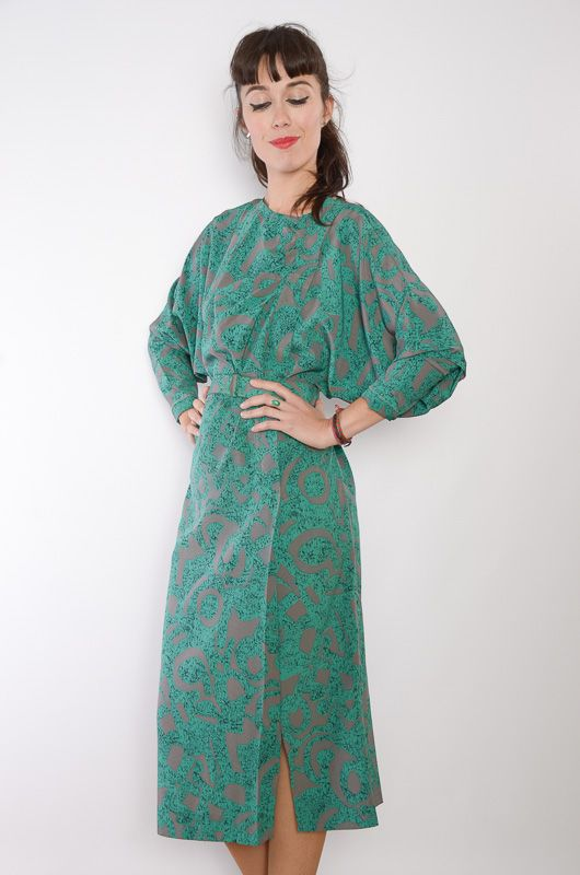 f8c1b60ce87 Vintage 80s Bat Abstract Green Dress Size M - Bichovintage - Online vintage  and retro clothing store