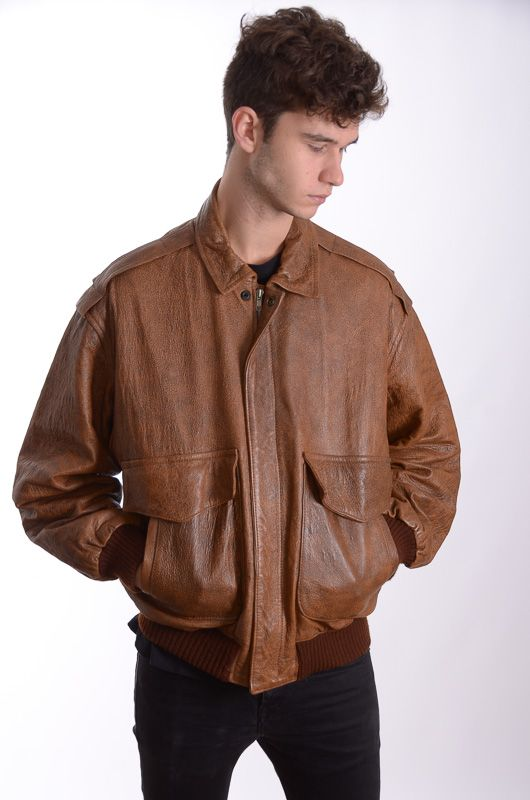 1e8f03928 Vintage 90s Bomber Leather Brown Jacket Size L - Bichovintage - Online  vintage and retro clothing store