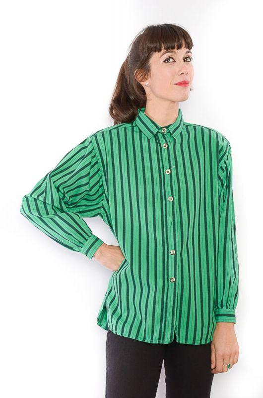 0c3335d0f Camisa Vintage 80-90s Rayas Verde - Bichovintage - Tienda online de ropa  vintage y retro