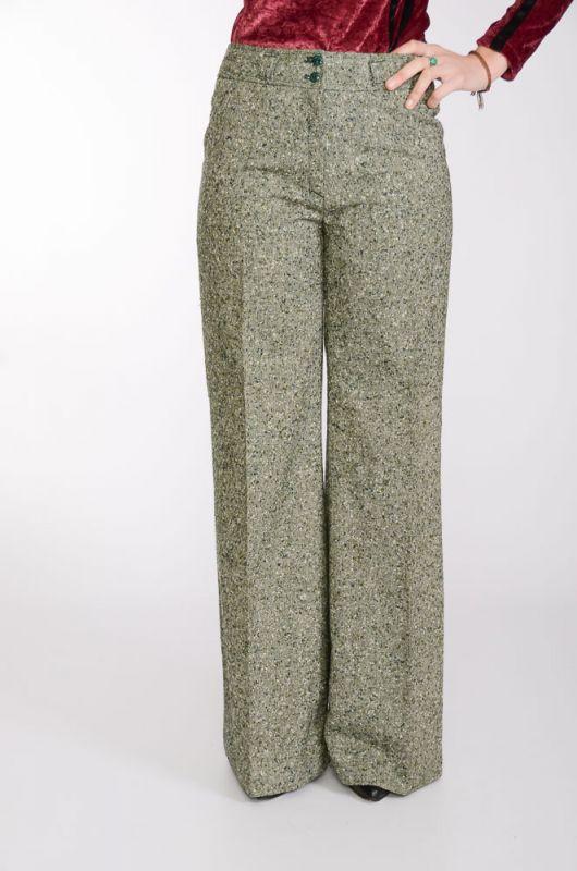 99e45b95c4e64 Pantalón Vintage 60-70s Pata de Elefante Verde Jaspeado - 1 ...