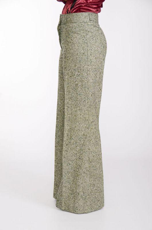 Pantalón Vintage 60-70s Pata de Elefante Verde Jaspeado ...