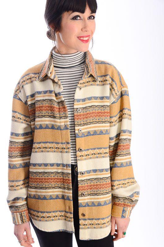 Retro Vintage Franela Oversize Bichovintage Online Cazadora Navajo Tienda Y De Camisa Ropa L4R35Aj