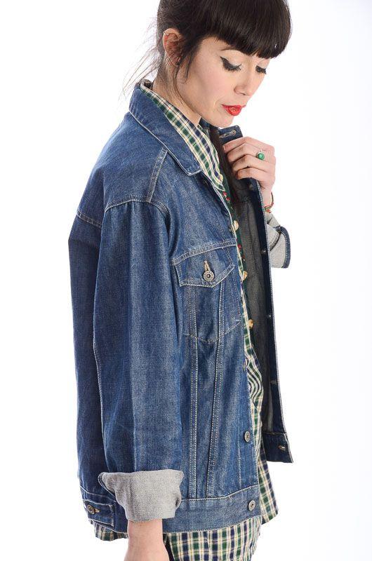 440318124923b Denim Jacket 90s Dark Blue Unisex Oversize - Bichovintage - Online vintage  and retro clothing store