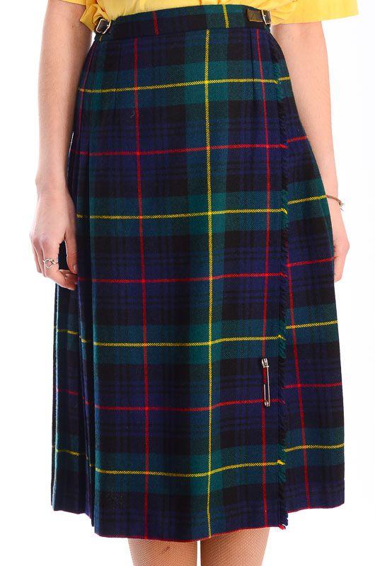 talla 7 elige genuino tiendas populares Falda Escocesa Vintage Clásica Verde Talla S-M - Bichovintage - Tienda  online de ropa vintage y retro