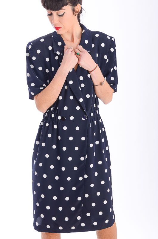 7e520a29b4a Vintage 80s Polka Dot Navy Blue Dress Size L - Bichovintage - Online vintage  and retro clothing store