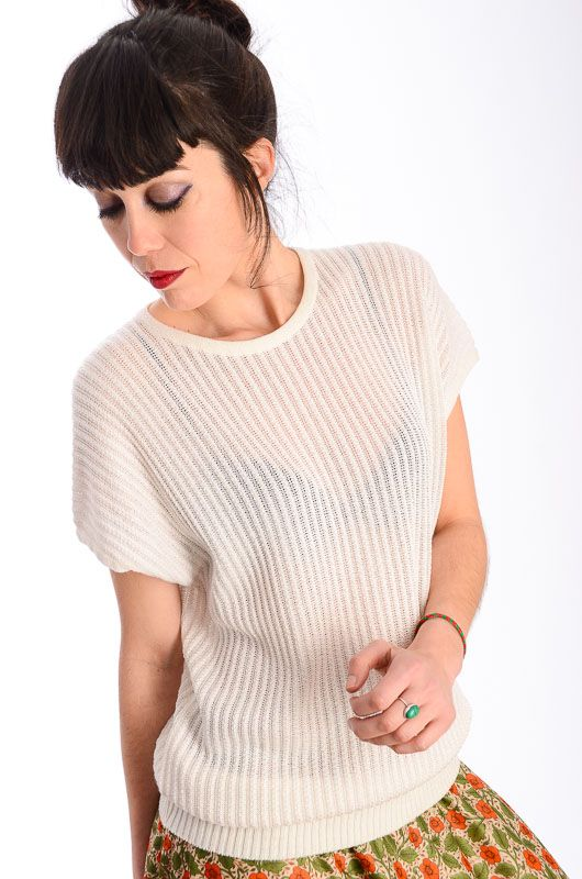 Vintage 80s Knitted Cream White Sweater Size M - Bichovintage - Online  vintage and retro clothing store 237089169