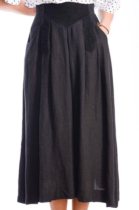 cf0ea9aea9d1a Falda Vintage 80s Lino Terciopelo Negra Talla M-L - Bichovintage - Tienda  online de ropa vintage y retro