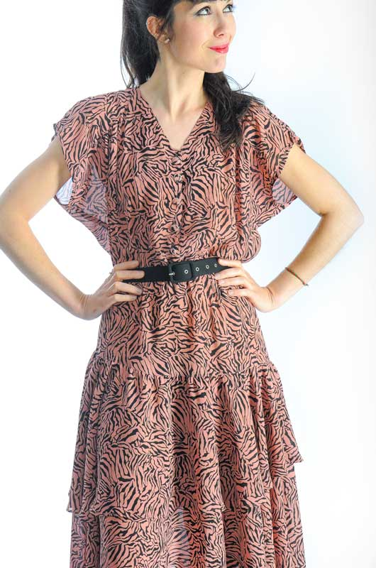 Vintage Animal Printed Ruffles Dress 80s Size M - L - Bichovintage - Online  vintage and retro clothing store a00e87dfc