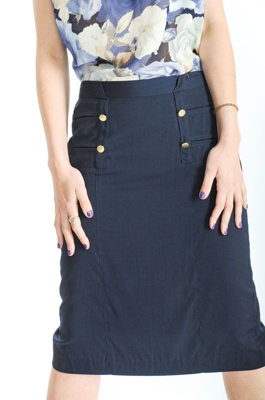 Classic Vintage Navy Skirt Buttons Size M - L - Bichovintage - Online  vintage and retro clothing store