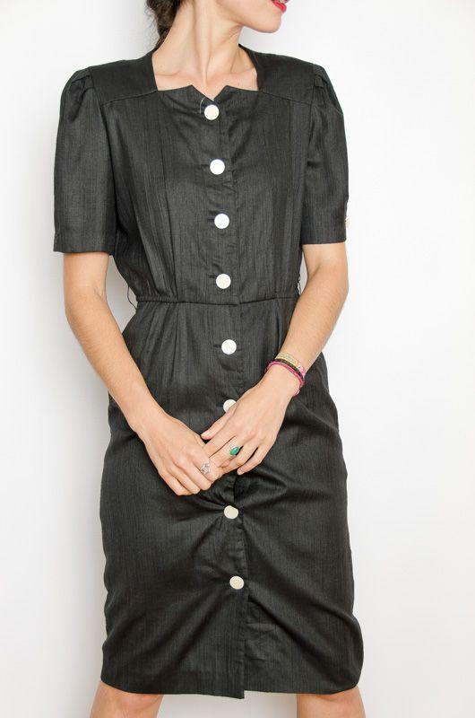 3bc0ddf64f5 Vintage HQ 80s Black Dress Buttons Size S - Bichovintage - Online vintage  and retro clothing store