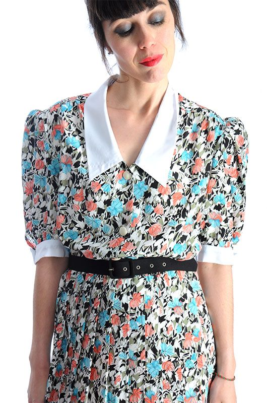 8512f168ae1 Vintage Dress 80s Floral Graphic Size L - Bichovintage - Online vintage and retro  clothing store