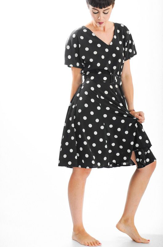 Vintage 80s Black Polka Dots Dress Size