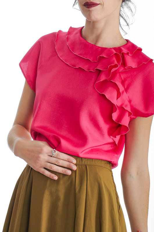 74ee6bb9e8a969 Vintage 80s Ruffles Pink Fuchsia Blouse Size M - Bichovintage - Online  vintage and retro clothing store