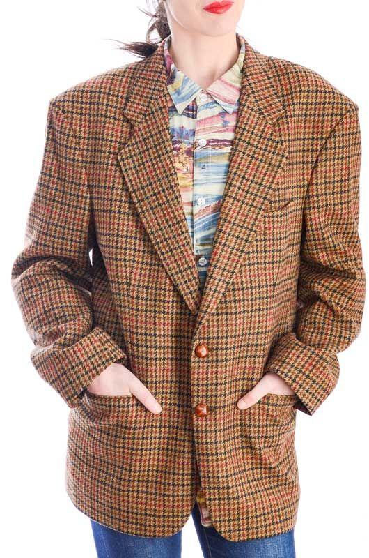 Vintage Gallo Tweed Pata Clásica Lana De Chaqueta Oversize DI9WHE2Y