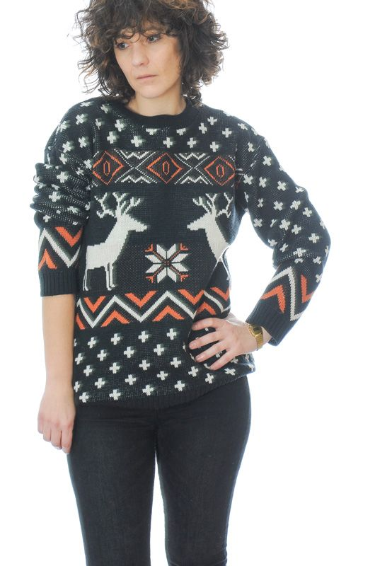Classic Vintage Knitted Black Sweater Reindeer Size M - Bichovintage - Online  vintage and retro clothing store 6fb112176
