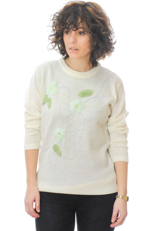 Vintage Knit 90s Cream Sweater Daisies Size M - Bichovintage - Online  vintage and retro clothing store bab9ce455