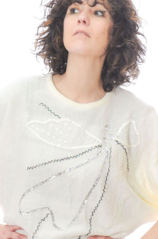 Knitted Vintage 80s Broken White Sweater Glitter Bat Oversize Size L -  Bichovintage - Online vintage and retro clothing store ae21a57d4