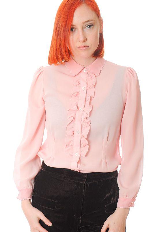 f1f2beb174 Blusa Vintage 70s Rosa Volantes Secretaria Talla S - Bichovintage - Tienda  online de ropa vintage y retro