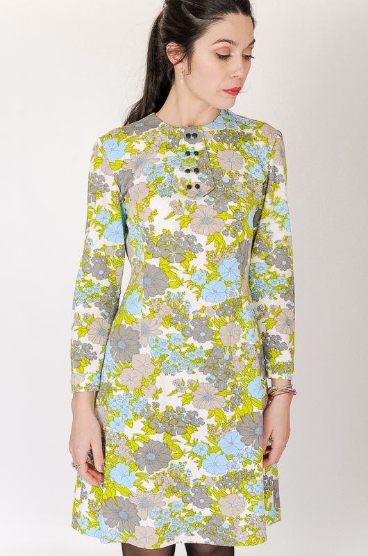 Vintage 60s Mod Pastel Dress Flowers Size S Bichovintage Online vintage and retro clothing store
