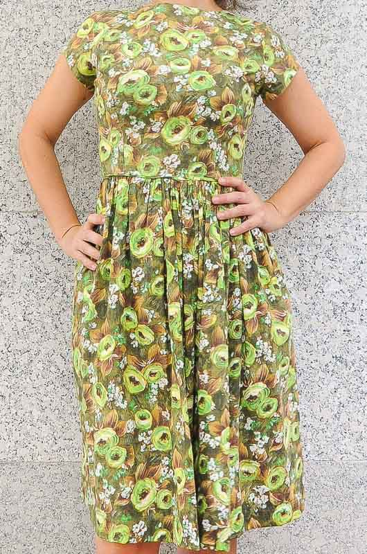 Totally handmade Unique 60/'s dress with green flowers  size Large