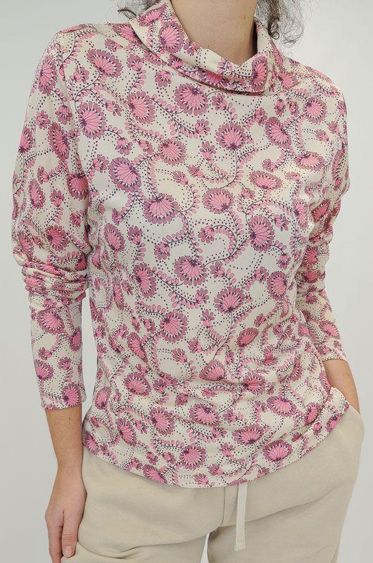 Shiny Pink Floral Blouse Size Medium
