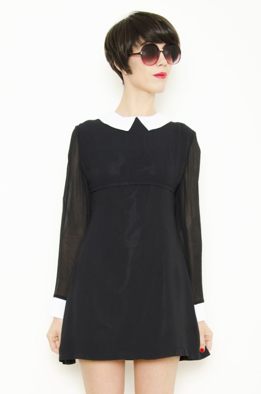 279e7017ef601 Vintage-Inspired Sixtie Indie Retro ChicMod Collar Dress (Black) -  Bichovintage - Online vintage and retro clothing store