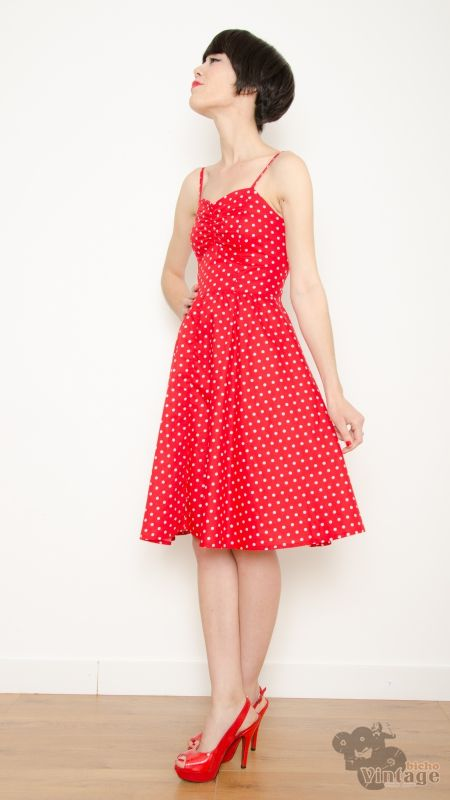 042fe3b5203 ... Vintage-Inspired 50s Pin Up Rockabilly Polka Dot Dress (Red white) ...