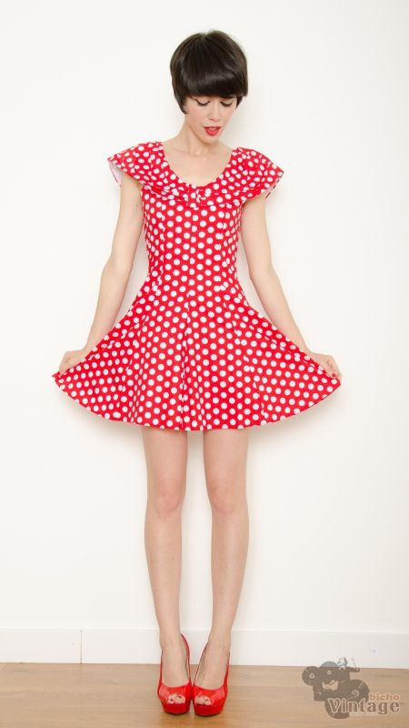7ef8ed6f3aa Vintage-Inspired 50s Pin Up Rockabilly Polka Dot Dress (Red ...