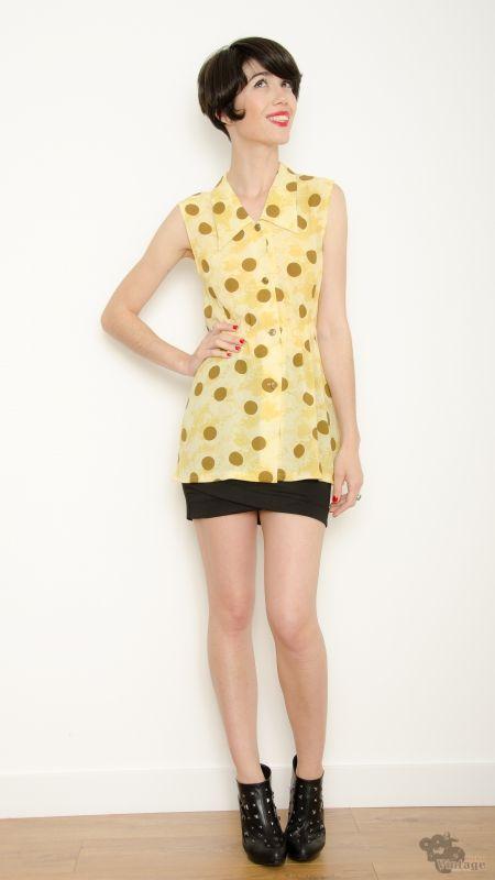 94614f6e0 Blusa Vintage Reciclada Amarilla Lunares Talla S - Bichovintage - Tienda  online de ropa vintage y retro